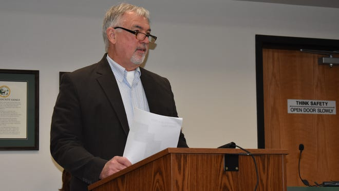 Colby Swanson of Grapeview testified in favor of Mason County forming a lake management district on Mason Lake, April 17. The measure will go before voters this fall.