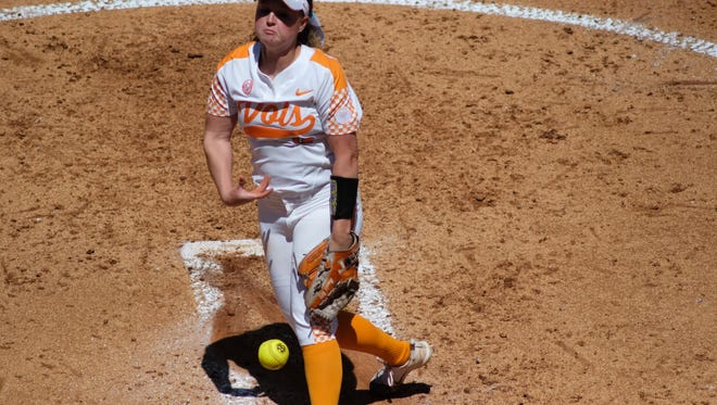 Lady Vol pitcher, Caylan Arnold, releases a pitch during their game against Kentucky at Sherry Parker Lee Stadium in Knoxville, Tenn., on Sunday, April 29, 2018.