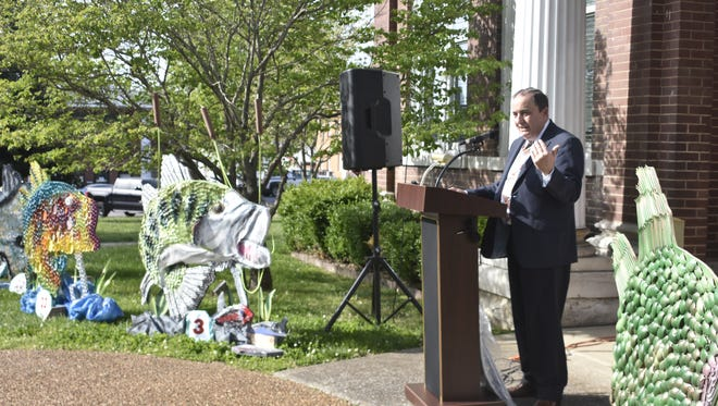 Cheatham County Mayor Kerry McCarver speaks at the Let's Talk Trash! news biennial Museum of Litter and Auction on the Cheatham County Courthouse lawn Tuesday, May 1.