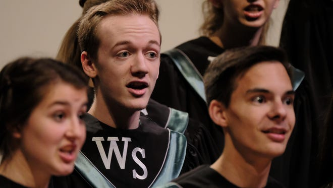 West Salem High School students take part in the OSAA Choir State Championships at George Fox University in Newberg, Ore., on May 5, 2018. West Salem won first place in the 6A division.