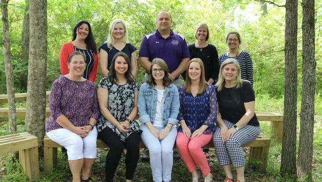 Overall Creek Elementary is home to two outdoor classrooms. The school's STEM education team consists (front row, from left) Cathrine Gordon, Mallory Eaton, Katie Nanney, Erin Nunley and Cherry Ross. On second row, from left, are Tara Hatchell, Shelby Jones, Don Bartch, Elizabeth Owens and Lea Bartch.