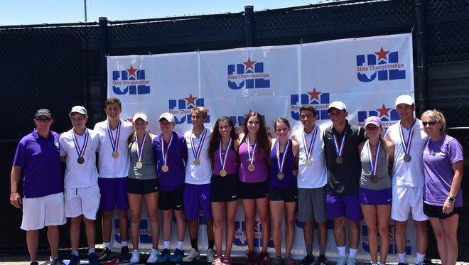 The Mason High School tennis team poses with their medals Friday at the UIL State Tennis Championships. Pictured (from left to right) are head coach Cade Smith, Matthew Kerr, Ethan Powell, Ryli Ruffin, Cason Dudney, Roman Coe, Raegan Glentz, Kate Gillespie, Grace Chapman, Caleb Horne, Rudy Rochat, Ella Canfield, Bode McMillan and assistant coach Salah Eckert.