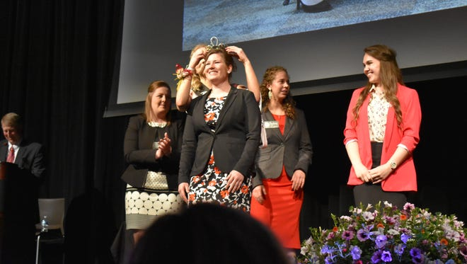 Kaityn Riley of Crawford County is crowned as the 71st Alice in Dairyland during the finale held in Adams, WI.