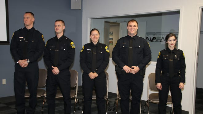 The Green Bay Police Department swore in new patrol officers Scott Delsart, Kyle Sieracki, Courtney Ainsworth, Paul Linsmeyer and Lucy Elfman Monday.