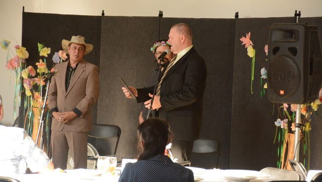 Sheriff Buddy Harwood speaks after receiving a Good Neighbor Award for most impactful government official.