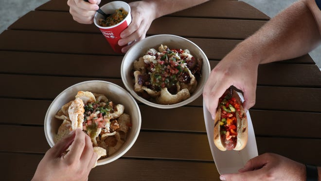 The Hooks concessionaire, Aramark, is offering three unique menu items for this weekend's Dia De Los Hooks weekend at Whataburger Field.