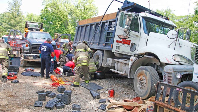 A man was crushed by a dump truck Thursday in Clarksville. He later died from his injuries.