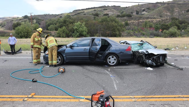 This was the scene after a multiple-vehicle crash Thursday in the 200 block of Telegraph Road in Fillmore. One person was killed and three were injured, authorities said.