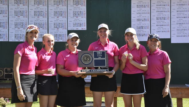 Class B champion Burke/South Central. Team members include: Tressa Bull, Taylee Indahl, Emily Stukel, Adisyn Indahl.