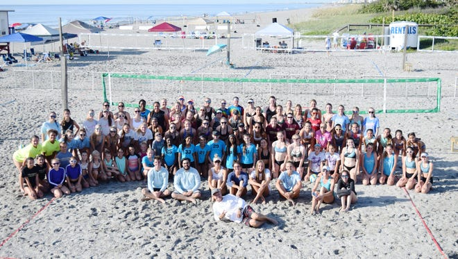 A total of 44 teams took part in the summer beach volleyball opener at Cocoa Beach Pier on Saturday.