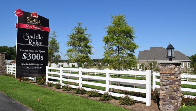 Saddle Ridge is under construction by homebuilder Schell Brothers. The development, located off Route 24 in Lewes, has 81 sites for single family homes.