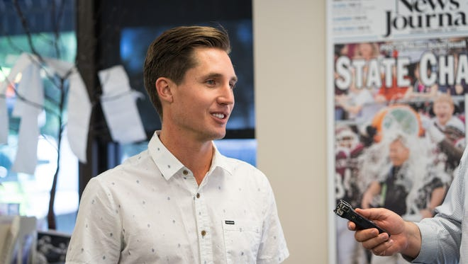 Jon Shell learns his organization, Upward Intuition, was named a recipient of a $100,000 grant from Gannett, on Tuesday, June 19, 2018. Shell and his organization are planning to build a skate park in downtown Pensacola.