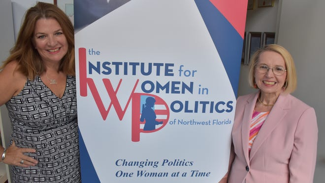 Myra Van Hoose (left) and Diane Mack, board members of the Institute for Women in Politics of Northwest Florida, announced plans for a School of Public Leadership set to open in summer 2020.