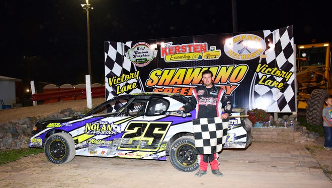 Shawano's Trent Nolan recently collected his first feature flag in the IMCA stock car division at Shawano Speedway. The 26-year-old races three nights a week on local dirt tracks.