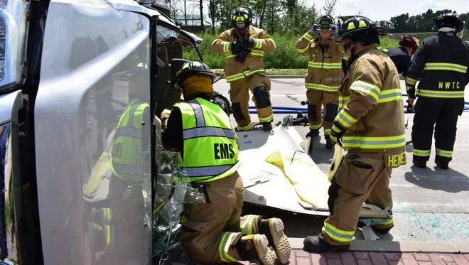 Crews had to remove one vehicles roof to extract the driver.