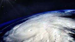 Hurricane typhoon over planet Earth viewed from space.