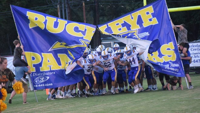 The Buckeye Panthers run out for their game against Leesville Thursday, Oct. 4, 2018. Leesville won 41-14.