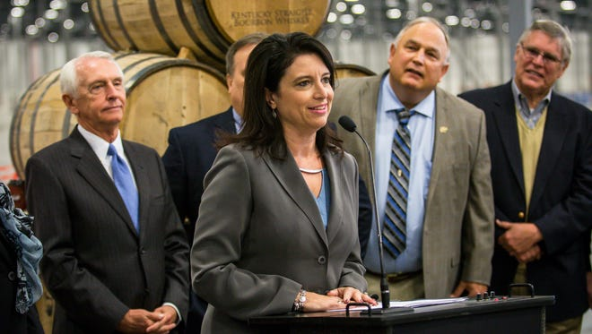 Sannie Overly speaks at the unveiling of an economic impact study on bourbon in Kentucky in 2014. She is running for statewide office for the first time as gubernatorial hopeful Jack Conway's running mate.