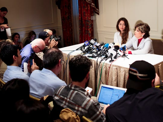Harvey Weinstein accuser Mimi Haleyi (L) with her attorney Gloria Allred (R) at press conference in New York, Oct. 24, 2017.