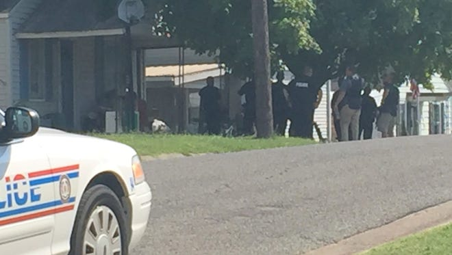 Police standoff in the 800 block of Lieber Street Friday afternoon.