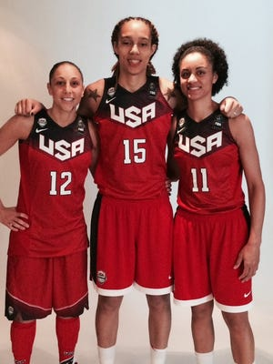 Phoenix Mercury players Diana Taurasi, Brittney Griner and Candice Dupree (L-R) are among 25 finalists for the U.S. women's basketball 2016 Olympic team.