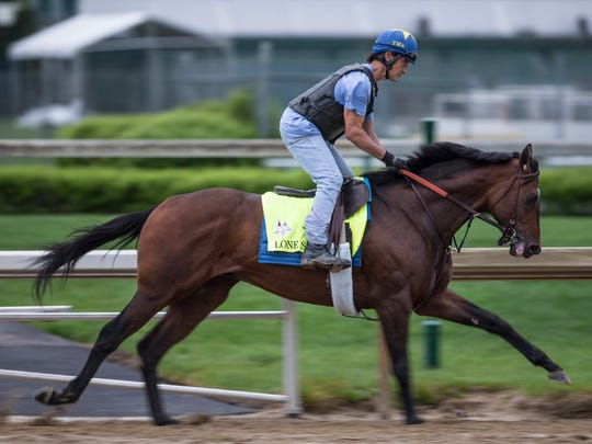 Lone Sailor gallops at Churchill Downs ahead of the Kentucky Derby. April 25, 2018.