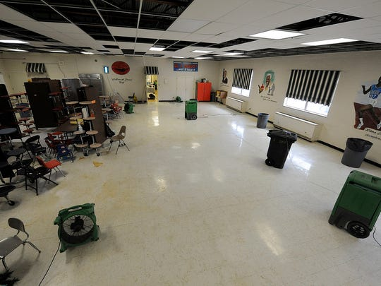 Damage can be seen inside the cafeteria at Whitehall