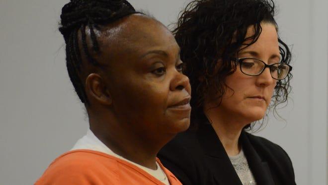 Vickie Haymer with her attorney, Melissa Heffner in court Thursday, Dec. 21, 2017.