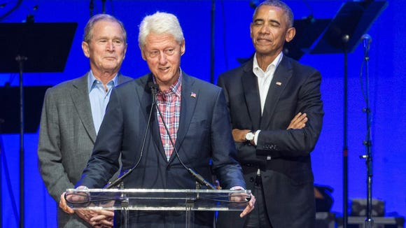 Former Presidents, Jimmy Carter, George H. W. Bush, George W. Bush, Bill Clinton, and Barack Obama attend the Hurricane Relief concert in College Station, Texas, Oct. 21, 2017.