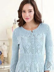 This peblum cardigan is one of the sweaters with the box-lace and ribbing in its design.
