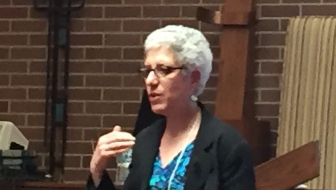 "Marilyn Mayo, research fellow at the Center for Extremism of ADL (Anti-Defamation League), speaks May 8, 2017, at ""Hope Against Hate"" conference at Congregation Shaarey Zedek in Southfield."