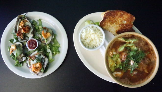 The Rockafellers oyster plate at left and the Marinera shrimp and fish soup at right are favorites at Cocteles Mazatlan at 1342 N. Zaragoza. The family-owned restaurant has a second location at 7921 N. Loop as well as a food truck called Cocteles Mazatlan To Go.