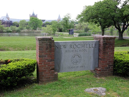 The sign outside New Rochelle High School