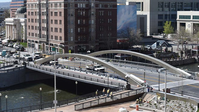 Photos of a sneak preview of the Virginia Street Bridge. The ribbon cutting event for the Virginia Street Bridget is April 12, 2016.