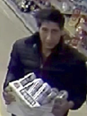 "In this undated photo released Wednesday Oct. 24, 2018, by Britain's Blackpool Police, showing an alleged thief bearing a striking resemblance to Ross Geller, the character played by actor David Schwimmer on the TV show ""Friends."""