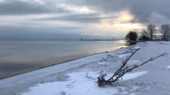 Early morning on a Green Bay beach in Menominee, Michigan.