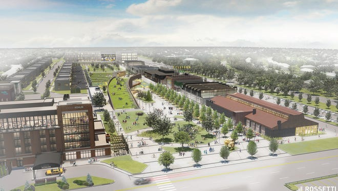 A conceptual drawing of the Titletown District includes townhouses in the upper left. The Packers have not decided on actual designs.