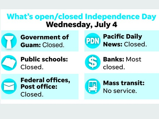 What's open, closed on Guam on Independence Day, 2018.