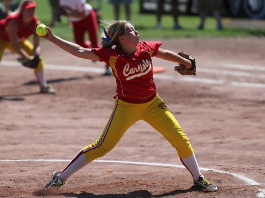 Gabby Schnathorst of Carlisle pitches against Boone