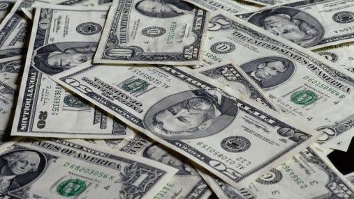 Close-up of American dollar bills
