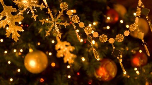 Ornaments on a Christmas tree.