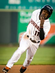 Shorebirds center fielder Cedric Mullins (11) rounds second against the Hagerstown Suns on Thursday, April 14 at Arthur W. Perdue Stadium in Salisbury.