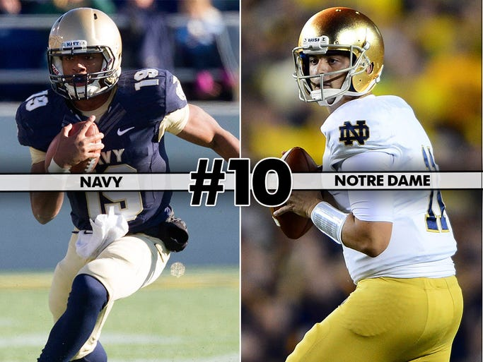 Navy (4-3) at No. 25 Notre Dame (6-2), 3:30 p.m. ET, NBC: Always an entertaining affair, the Irish enter this one having won three in a row and find themselves back in the top 25. Quarterback Tommy Rees has thrown seven touchdowns with no interceptions in the last two games.