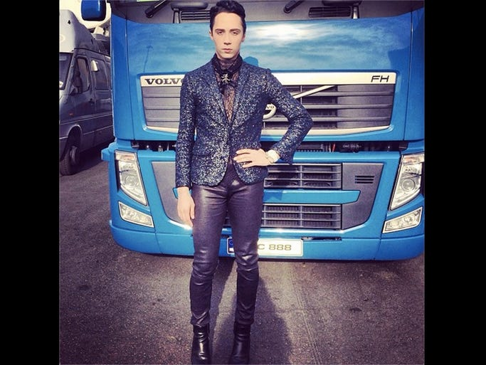 Johnny Weir's outfit on February 19: He wore a Zadig et Voltaire blazer, Erickson Beamon brooch, and Rick Owens wedges. (All photos and clothing credits courtesy of Johnny Weir, johnnygweir on Instagram.)