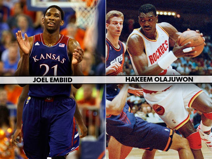 Top 2014 NBA draft prospect Joel Embiid, a Kansas center, could end up being the incarnate of Rockets legend Hakeem Olajuwon thanks to his natural defensive instincts and unbelievable fluidity for a 7-footer. USA TODAY Sports' Adi Joseph takes a look at his top 14 prospects and their best-case scenarios, looking for past player comparisons.