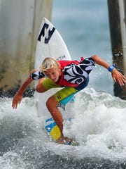 Tommy Coleman cuts back on a nice wave during a recent NKF Rich Salick Surf Festival in Cocoa Beach.