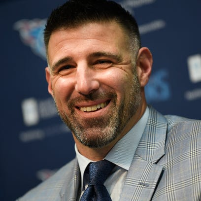 The Titans new head coach Mike Vrabel smiles during