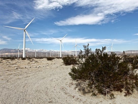 Wind turbines north of Palm Springs generate electricity