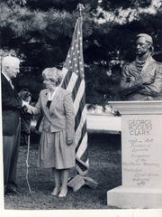 Frank G. Rankin Jr., chairman of the George  Rogers Clark Trail Foundation, congratulates sculptor Ann Allen of Spartanburg, S.C. at the unveiling of her bust of Clark at Locust Grove in 1986.