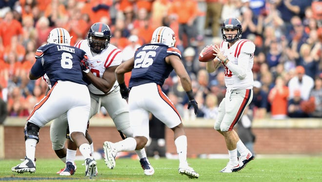 Ole Miss quarterback Chad Kelly helped the Rebels claim a 27-19 victory against Auburn in 2015.
